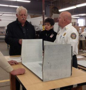 Richard and Sandra Allen reviewing incubator prototype.